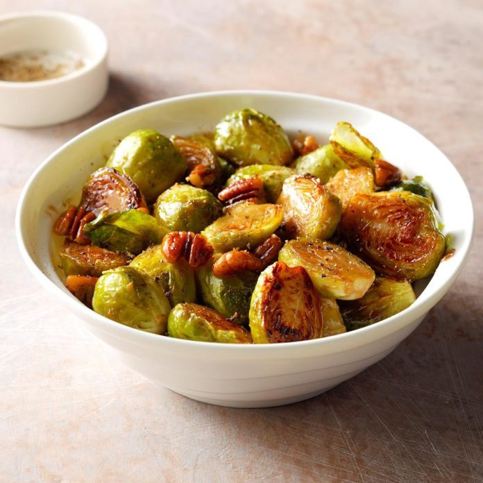 Brussel Sprouts with pecans and honey