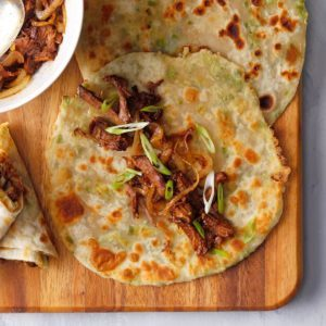 Chinese Scallion Pancake Beef Rolls
