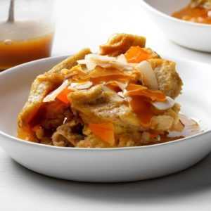 Coconut Mango Bread Pudding with Rum Sauce