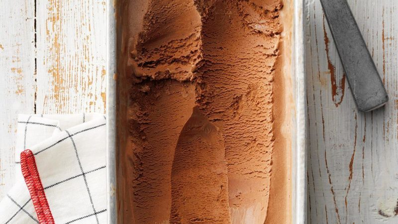 Dark chocolate ice cream with paprika