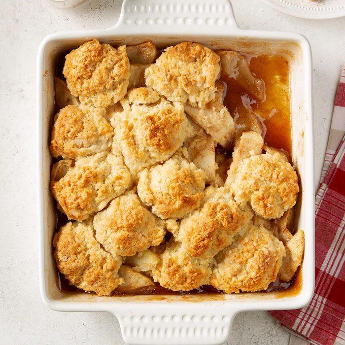 easy apple cobbler recipe in square baking dish