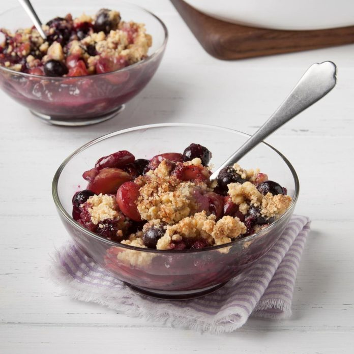 Berry and Grape Crumble (gluten, dairy free)