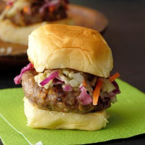 Maple Sausage Sliders with Slaw