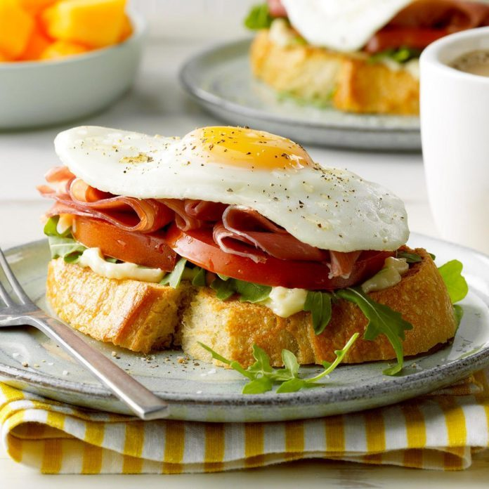 Open-Faced Prosciutto and Egg Sandwich