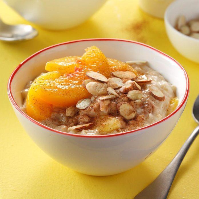 Overnight peach oatmeal