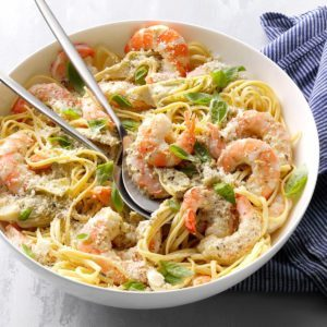Pesto Shrimp and Artichoke Linguine