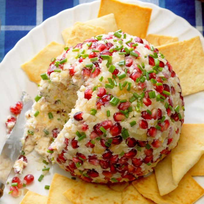 Pomegranate Macadamia Cheese Ball