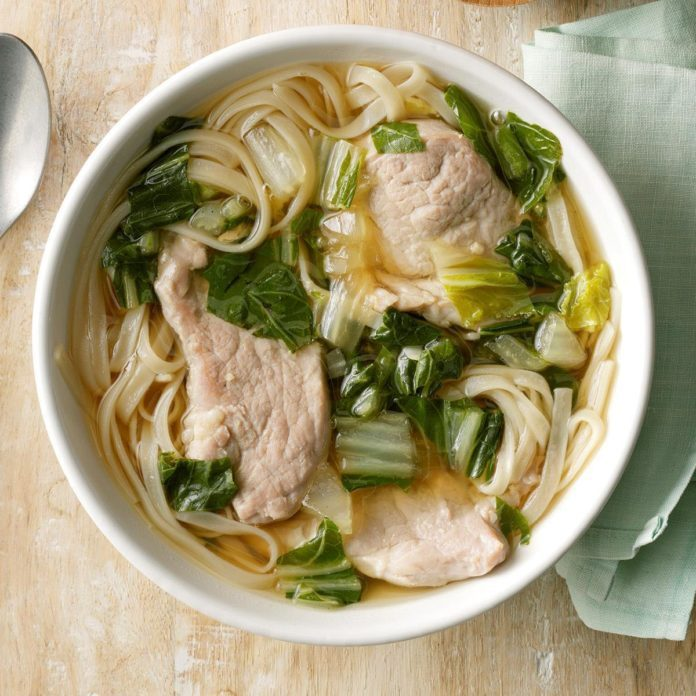 Pork & Bok Choy Udon Soup