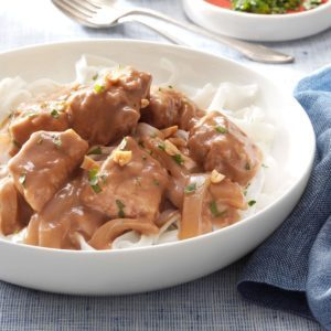 Pressure Cooker Pork Satay with Rice Noodles