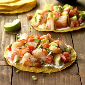 Shrimp Tostadas with Lime-Cilantro Sauce