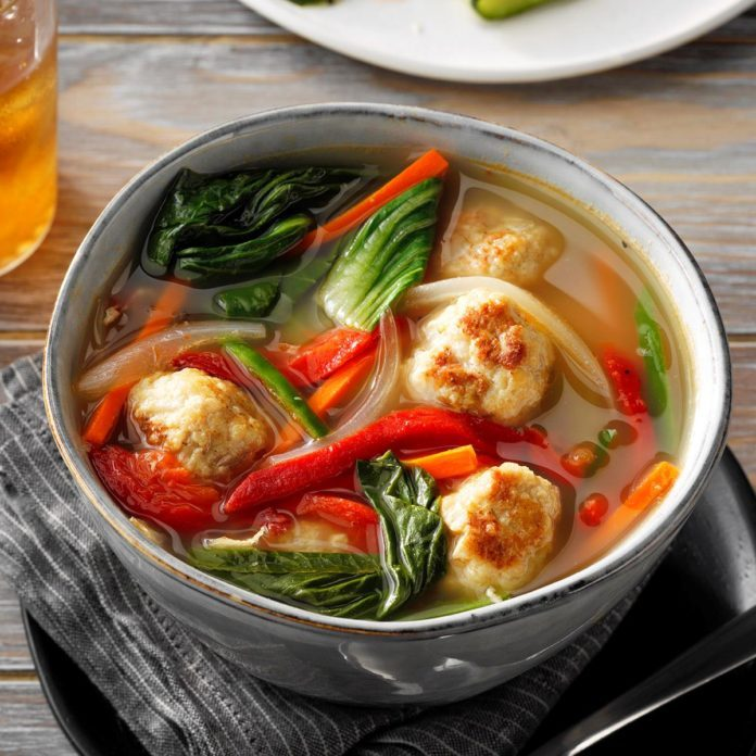 Vietnamese Chicken Meatball Soup with Bok Choy