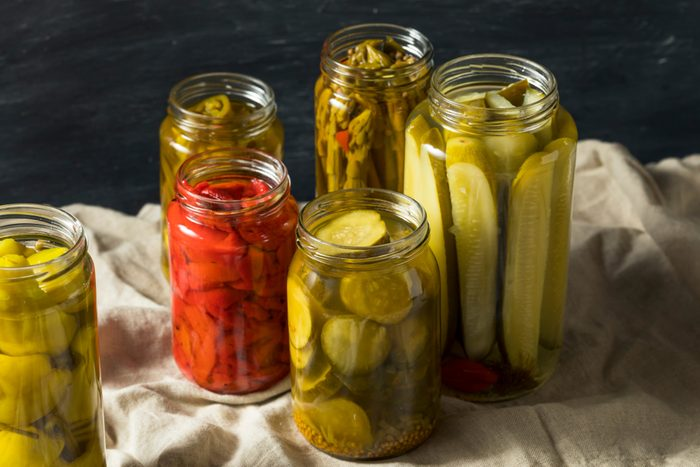 Homemade Pickled Vegetables in Jars Ready to Eat; Shutterstock ID 1128487340; Job (TFH, TOH, RD, BNB, CWM, CM): TOH Canning 101