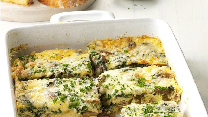 Healthy breakfast casserole dish in a 13x9 pan.