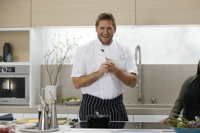 (9243765j) Renowned chef, Curtis Stone, stepped into the Bosch Kitchen on in Los Angeles, Calif. to develop exclusive recipes for the appliance manufacturer during a special Facebook event. Bosch home appliances and the award winning chef have embarked on a partnership designed to inspire consumers to prepare easy, healthy meals and simplify their cooking experience Kitchen Conversations: A Facebook Cooking Event with Curtis Stone, Los Angeles, USA - 3 Apr 2017