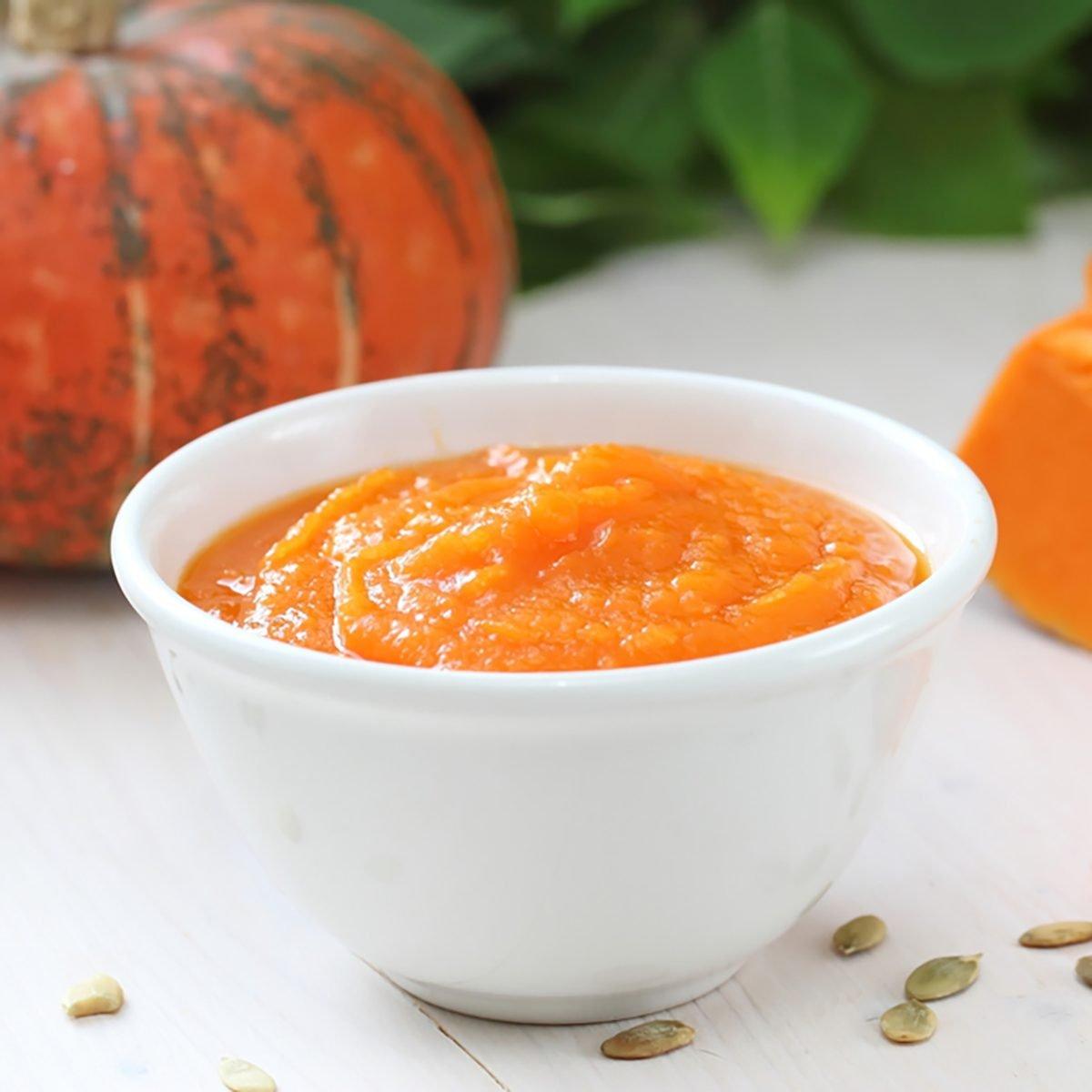 Homemade pumpkin puree in a bowl