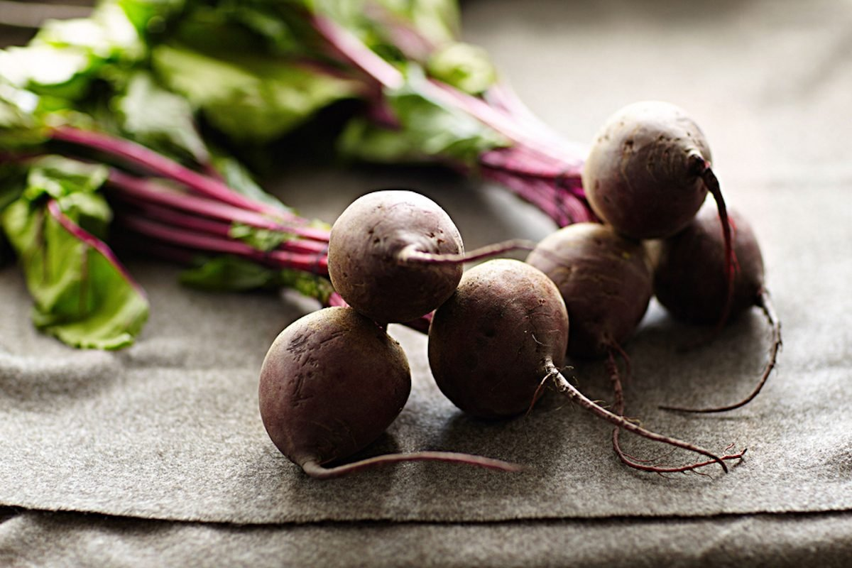 Beets on a kitchen table.