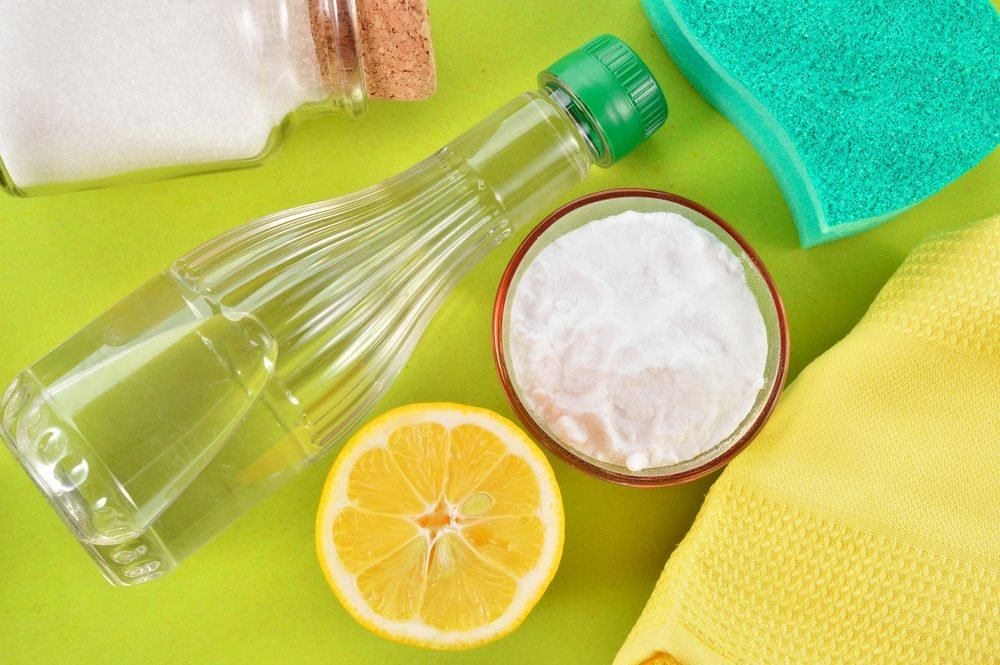 Eco-friendly natural cleaners. Vinegar, baking soda, salt, lemon and cloth. Homemade green cleaning.; Shutterstock ID 171457127