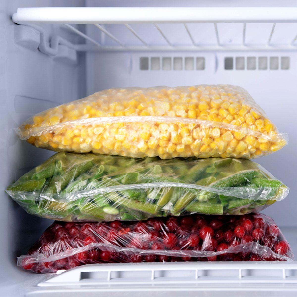 Frozen food in freezer