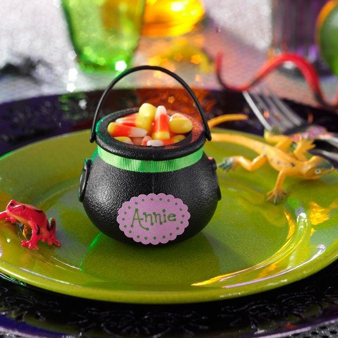Candy cauldron decoration for Halloween