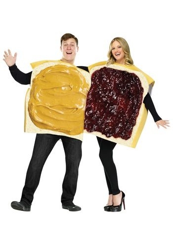 man dressed as a slice of bread with peanut butter on it with his arm around