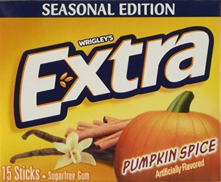 Front of a package of pumpkin spice flavored Extra gum