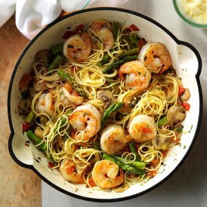 Asparagus and shrimp with angel hair pasta