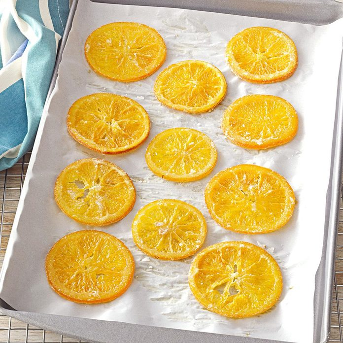Candied citrus on a sheet pan
