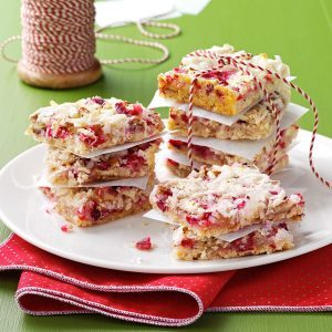 26 christmas bar recipes for sweet celebrations taste of home chewy cranberry pecan bars forumfinder Gallery