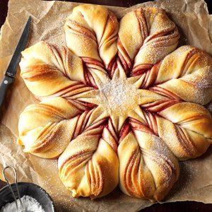 star; bread; christmas; swirl;