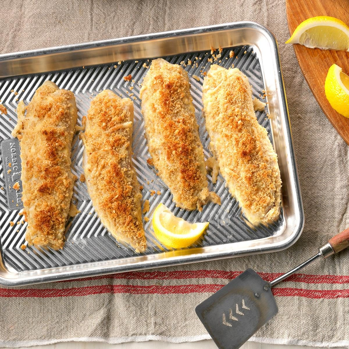 Crusted fish on a baking sheet