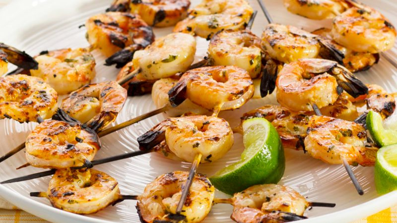 Grilled shrimp on skewers