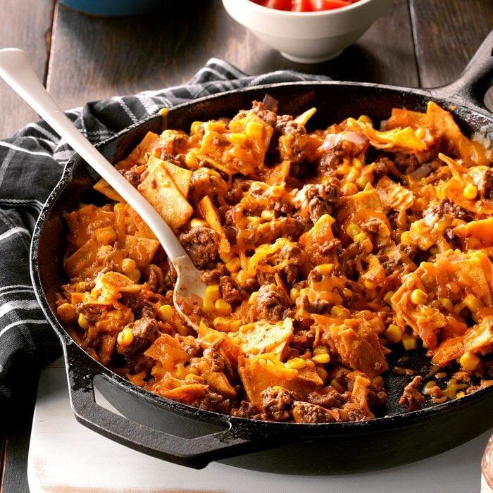 Easy beef taco skillet