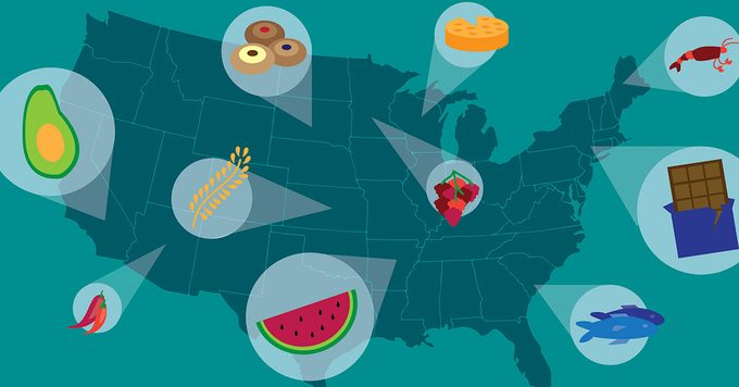 Blue map of the USA on a teal background with callouts of different foods around the country
