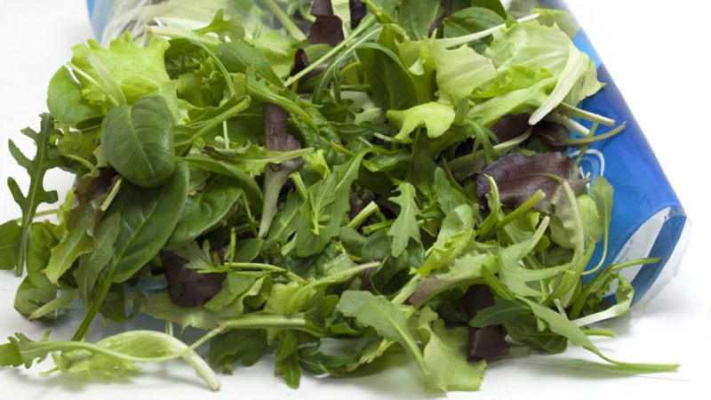 Open bag of pre-washed lettuce with the leaves pouring out