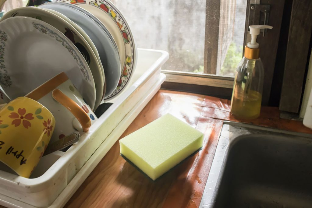 Sponge on kitchen sink