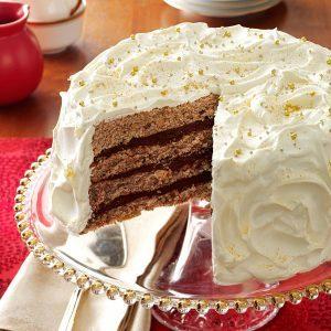 Gilded Mocha-Walnut Layer Cake