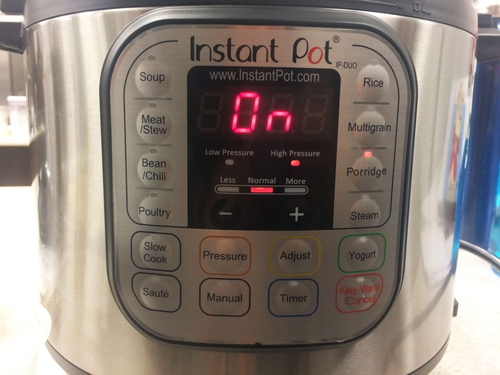 Close-up of the instant pot control panel