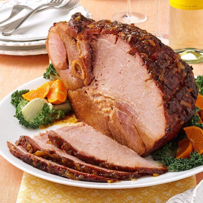 Orange-glazed ham