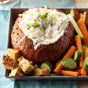 Pretzel Bread Bowl with Cheese Dip