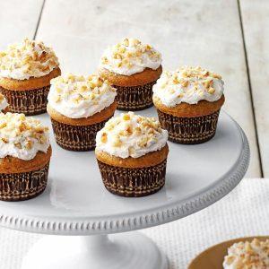 Pumpkin pie cupcake on a display platter