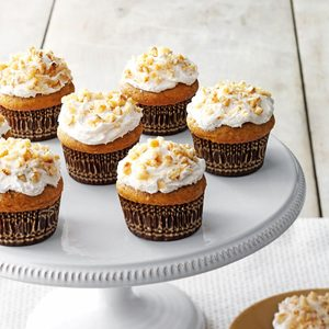 Pumpkin pie cupcake on a display platter