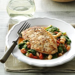 Rosemary Chicken with Spinach & Beans