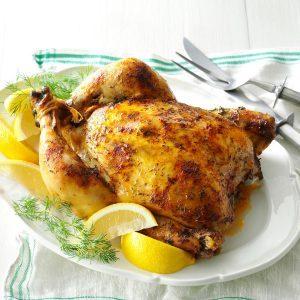 Slow roasted lemon dill chicken