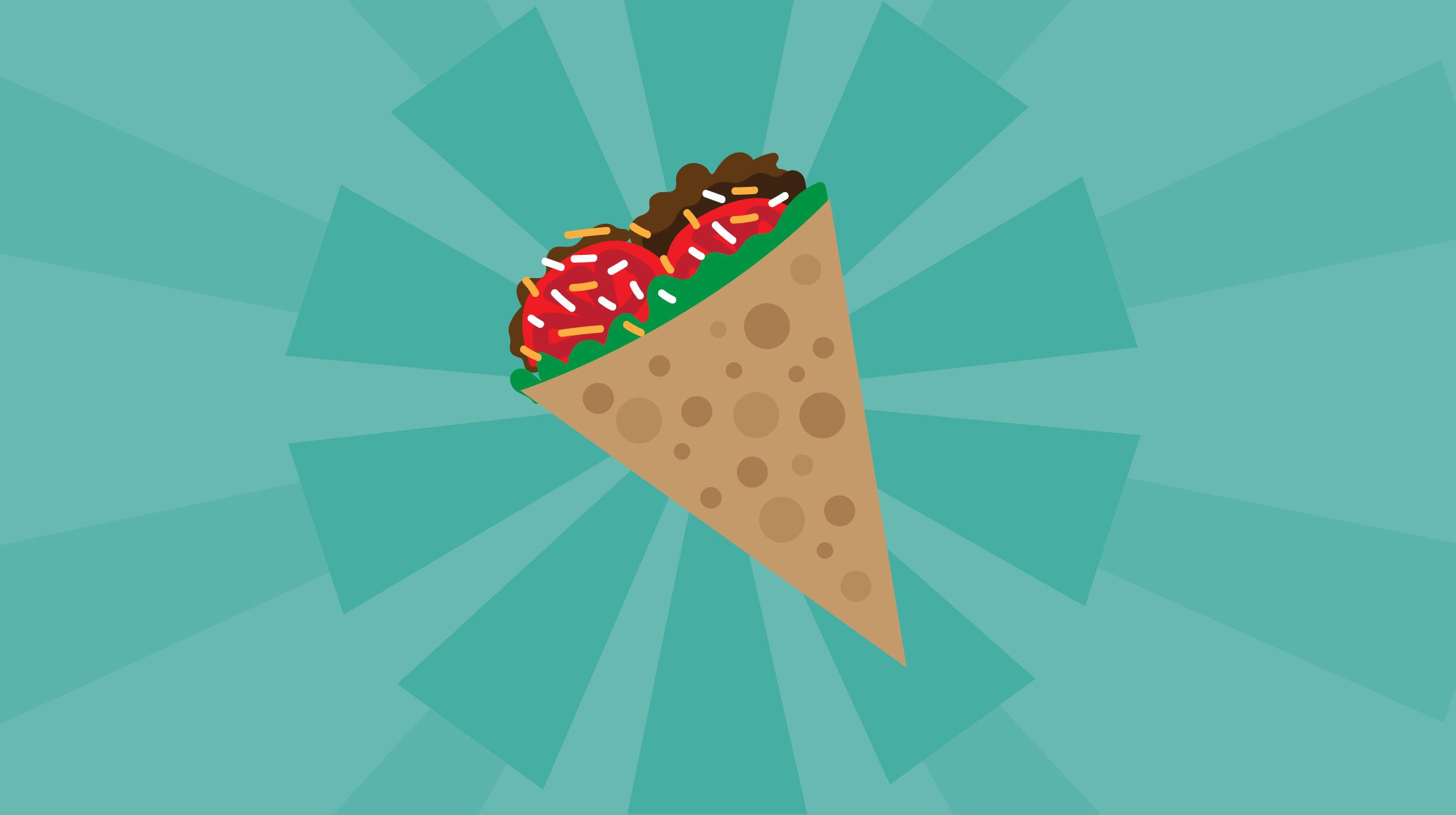 Art of a cone with taco fillings against a blue background