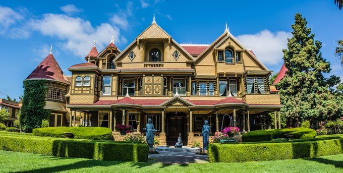 Large, eight story cottage that was once home to William Winchester