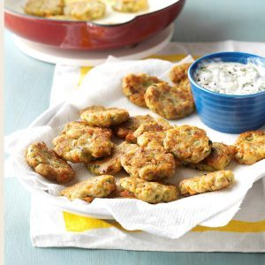 Zucchini Patties with Dill Dip