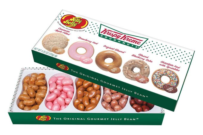 Box of jelly beans mocked up to look like a Krispy Kreme box