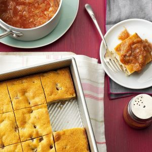 Shortcake with Fresh Rhubarb Sauce