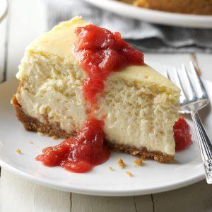 Coconut Cheesecake & Rhubarb Compote