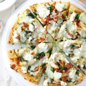 Spinach-Pesto White Pizza